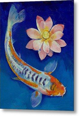 Koi Fish And Lotus Metal Print by Michael Creese