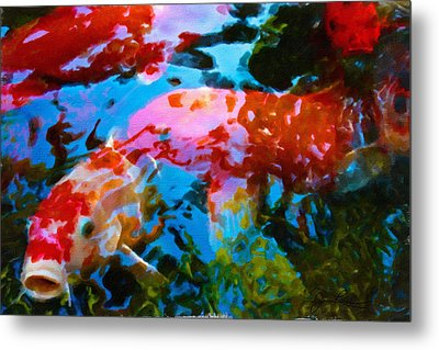 Metal Print featuring the painting Koi Fish by Joan Reese