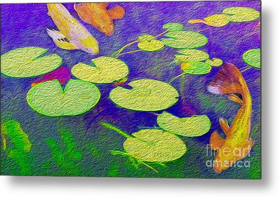 Koi Fish Under The Lilly Pads  Metal Print