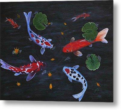 Koi Fishes Original Acrylic Painting Metal Print by Georgeta  Blanaru
