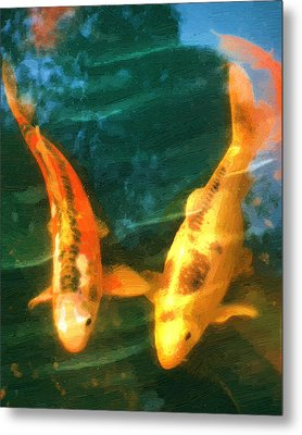 Metal Print featuring the painting Koi Friends by Doug Kreuger