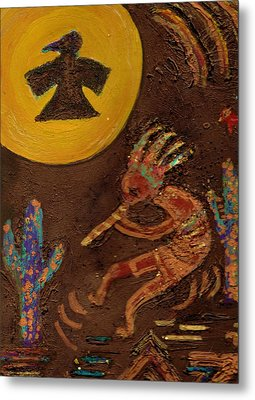 Kokopelli Dancing II Metal Print by Anne-Elizabeth Whiteway