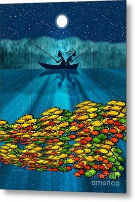 Kokopelli Fishing Metal Print by Chris Rhynas