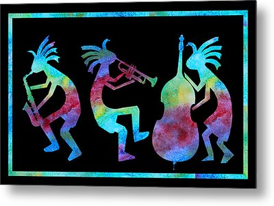Kokopelli Jazz Trio Metal Print by Jenny Armitage