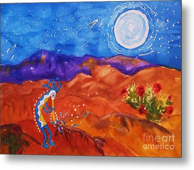 Kokopelli Playing To The Moon Metal Print