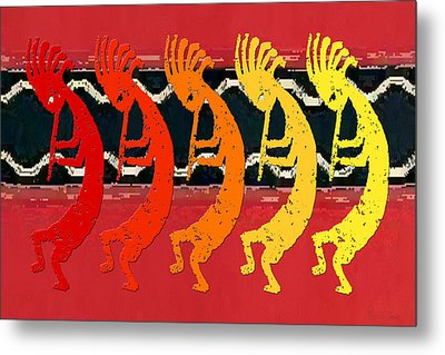 Kokopelli Quintet 4 Metal Print by Robert J Sadler