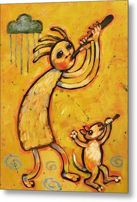 Kokopelli With Musical Dog Metal Print