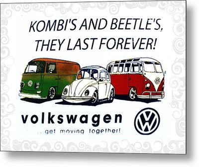 Kombis And Beetles Last Forever Metal Print by Bill Cannon