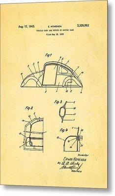 Komenda Vw Beetle Body Design Patent Art 1943 Metal Print by Ian Monk