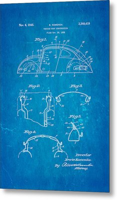 Komenda Vw Beetle Body Design Patent Art 1945 Blueprint Metal Print by Ian Monk