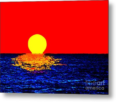 Kona Sunset Pop Art Metal Print