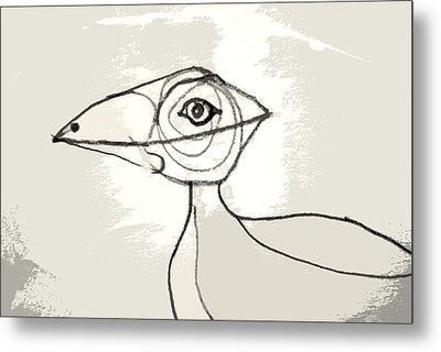 Metal Print featuring the drawing Koo-koo Bird by Kjirsten Collier