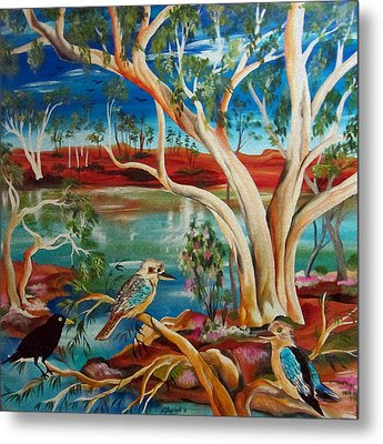 Metal Print featuring the painting Kookaburras Billabong by Roberto Gagliardi