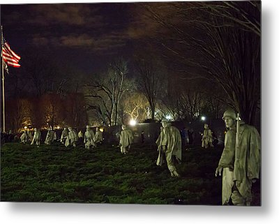 Korean War Memorial At Night Metal Print by Natural Focal Point Photography