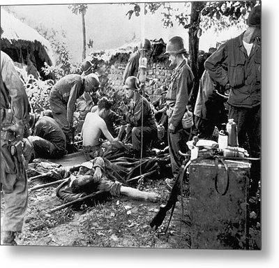 Korean War Wounded Metal Print by Underwood Archives
