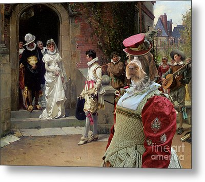 Korthals Pointing Griffon Art Canvas Print Metal Print by Sandra Sij