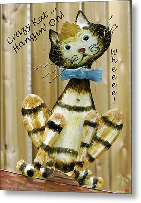 Metal Print featuring the photograph Krazy Kat Hangin On by Rhonda McDougall