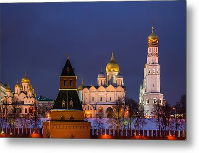 Kremlin Cathedrals At Night - Featured 3 Metal Print by Alexander Senin