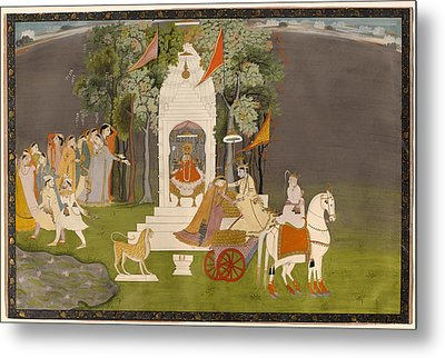 Krishna Abducting Rukmani From The Temple Metal Print by Mountain Dreams