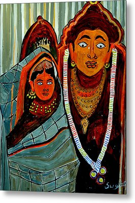 Metal Print featuring the painting Krishna And Radha by Anand Swaroop Manchiraju