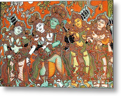 Krishna And Radha Metal Print by Pg Reproductions