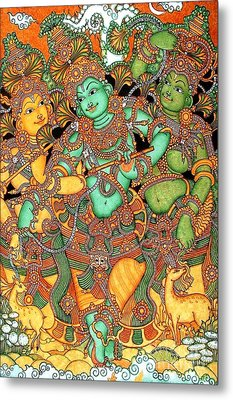 Krishna And The Gopis Metal Print by Pg Reproductions