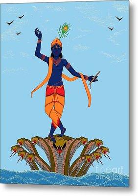 Krishna Dancing On Kaliya Metal Print