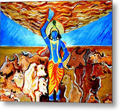 Metal Print featuring the painting Krishna Lifting Govardhan Hill by Anand Swaroop Manchiraju