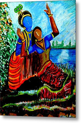 Metal Print featuring the painting Krishna  Playing With Radha by Anand Swaroop Manchiraju