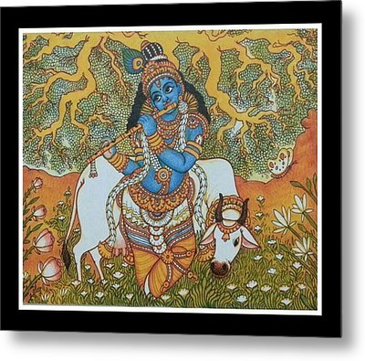 Krishna With Cow Mural Painting Metal Print by Navin PB