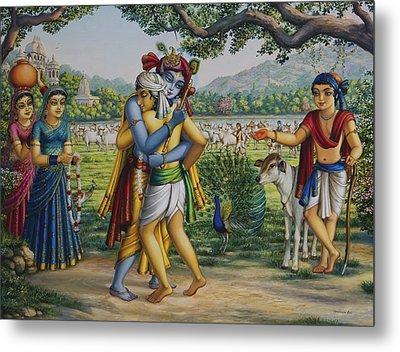 Krishna With His Dear Friend  Metal Print by Vrindavan Das