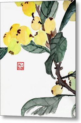 Kumquats  Chinese Watercolor Painting Metal Print by Merton Allen