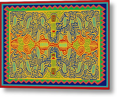 Metal Print featuring the digital art Kuna Bird Spirits by Vagabond Folk Art - Virginia Vivier