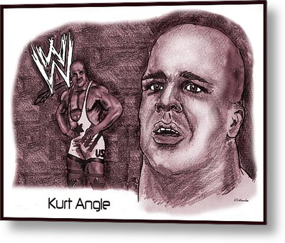 Metal Print featuring the mixed media Kurt Angle by Chris  DelVecchio
