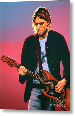 Kurt Cobain In Nirvana Painting Metal Print by Paul Meijering