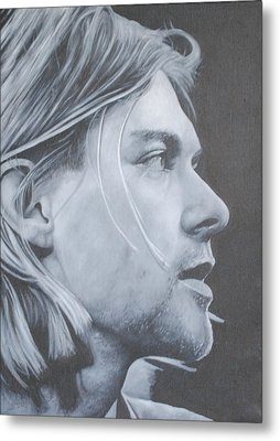 Metal Print featuring the painting Kurt Cobain by David Dunne