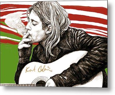Kurt Cobain Morden Art Drawing Poster Metal Print by Kim Wang