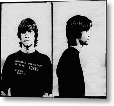 Kurt Cobain Mugshot Metal Print by Bill Cannon