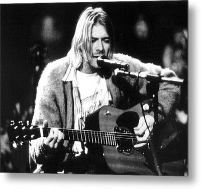 Kurt Cobain Singing And Playing Guitar Metal Print by Retro Images Archive