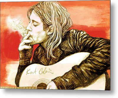 Kurt Cobain - Stylised Drawing Art Poster Metal Print