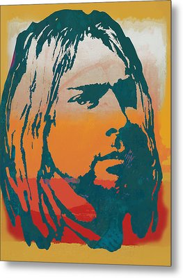 Kurt Cobain - Stylised Pop Art Poster Metal Print