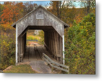 Ky Hillsboro Or Grange City Covered Bridge Metal Print by Jack R Perry