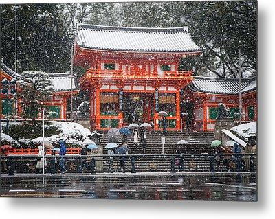 Kyoto Snowfall Metal Print