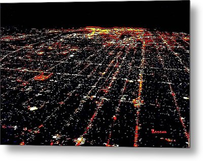 L A Skyscape At Night Metal Print by Sadie Reneau