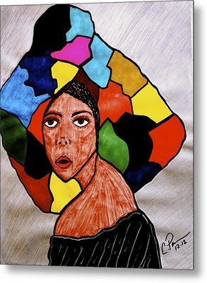 Metal Print featuring the drawing La Artista by Chrissy  Pena