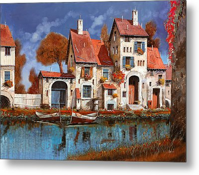 La Cascina Sul Lago Metal Print by Guido Borelli