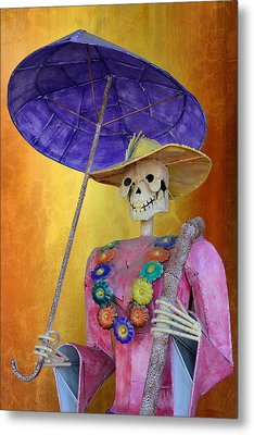 La Catrina With Purple Umbrella Metal Print