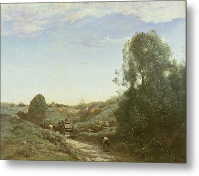 La Charette, Memory Of Marcoussis Oil On Canvas Metal Print by Jean Baptiste Camille Corot