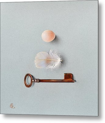 Metal Print featuring the drawing La Clef Des Champs by Elena Kolotusha
