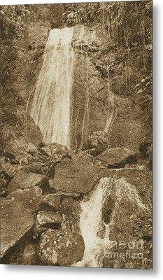 La Coca Falls El Yunque National Rainforest Puerto Rico Prints Vintage Metal Print by Shawn O'Brien